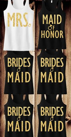 Gold Glitter #Wedding Tank Tops at www.MrsBridalShop.com. Buy more and save! Click here to buy https://mrsbridalshop.com/collections/bridesmaids/products/bridesmaid-tank-top-with-gold-glitter
