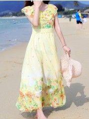 Ruffled  Bohemian Printed Maxi-dresses