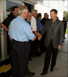 Racer Dale Earnhardt Jr., greets employees at his new Dale Earnhardt Jr., Chevrolet dealership, formerly Champion Chevrolet.
