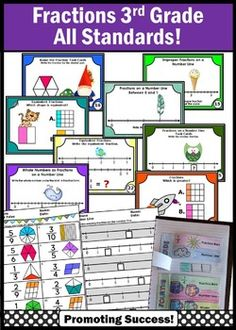 3rd Grade Common Core Math Fractions BUNDLE of Activities and Games: In this bundle, you will receive 320 fraction task cards and 2 worksheet packets. Students will name fractions, use fractions on a number line, compare and determine equivalence, examine fraction pizzas, solve word problems, play scavenger hunt games, SCOOT, utilize anchor charts, and so much more!