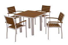 Polywood PWS118-1-11TE Euro 5-Piece Dining Set in Textured Silver Aluminum Frame / Teak