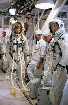 David Scott & Neil Armstrong in the White Room for Gemini 8