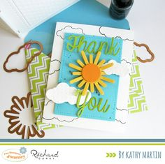 Thank You - Scrapbook.com - Bright colors and dimensional effects on this die cut and embossed card.