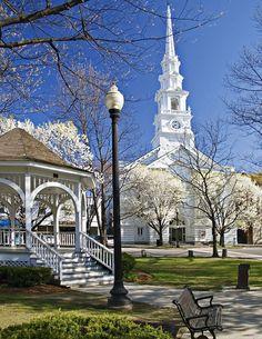 White church in Keene, New Hampshire.