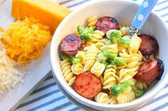 Cheesy Pasta with Kielbasa and Broccoli