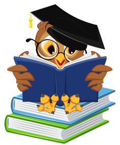 Owl with School Books PNG Clipart Picture