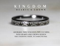 3MM Tungsten Kingdom Hearts & Crown Design by Cloud9Tungsten