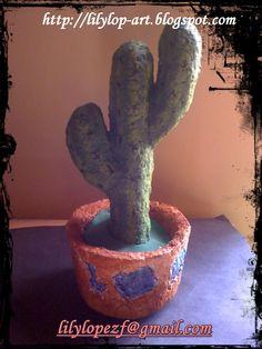 Cactus de papel mache
