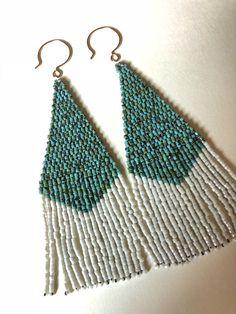 Turquoise and white Beaded Fringe Earrings