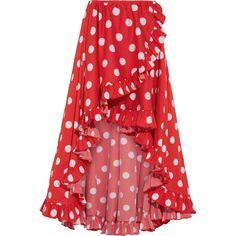 Caroline Constas Adelle asymmetric ruffled polka-dot cotton skirt (€520) ❤ liked on Polyvore featuring skirts, caroline constas, bottoms, dot, ruffled, pull on skirts, red knee length skirt, red polka dot skirt, red skirt and polka dot skirts