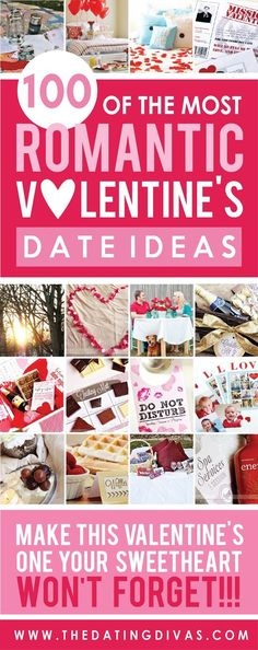 Wow! I love all these romantic Valentine's date night ideas! There are over 100 AWESOME ideas! Just what I needed to plan the perfect date for my sweetie!!! www.TheDatingDivas.com #valentinesdaydate #vdayideas