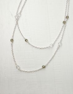 Minimal long necklace long chain necklace minimalist sparkly necklace glass beads.
