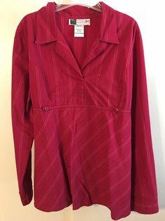 10ffa3b1adaf3 Red White Striped Top Button Down Dress Shirt Maternity - Sz XLarge  #fashion #clothing