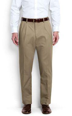 Lands' End Men's Big & Tall Pleat Front Traditional Fit No Iron Chino Pants-Light Stone Tall Pants, Khaki Pants, Men's Pants, Casual Pants, Trousers, Mens Big And Tall, Tall Men, Tall Guys, Color Khaki