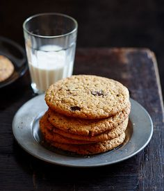 Australian Gourmet Traveller fast recipe for warm choc-chip peanut butter cookies.