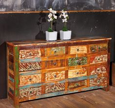 Reclaimed Wood Sideboard Large Indian Furniture Industrial Storage Chest Drawers