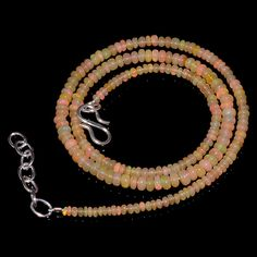 "32CRTS 2.5to4.5MM 18"" ETHIOPIAN OPAL RONDELLE BEAUTIFUL BEADS NECKLACE OBI923 #OPALBEADSINDIA"