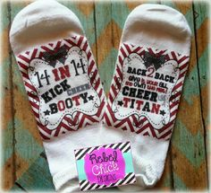 Good Luck Cheer Socks! #rebelchickdesigns #PERSONALIZED #CHEER #DANCE #TITANS #GOODLUCK #COMPETITION #STATE