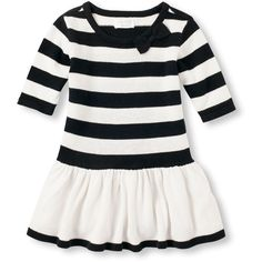 Toddler Girls Elbow Sleeve Striped Sweater Dress ($30) ❤ liked on Polyvore featuring babies and kids