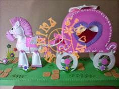 fun foam horse and carriage Foam Crafts, Paper Crafts, Car Cake Tutorial, Geek Magazine, Princess Crafts, Cool Birthday Cakes, Toy Craft, Cakes For Boys, Dinosaur Stuffed Animal