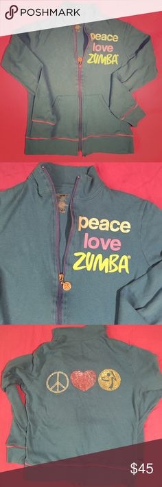 Peace Love Zumba track jacket sz M bling excellent Peace Love Zumba blue track jacket. Bling!!  In excellent condition. Very lightweight. Zumba Tops Sweatshirts & Hoodies
