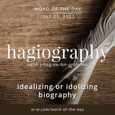 """Merriam-Webster on Instagram: """"'Hagiography' is the #wordoftheday #language #languagelearning #merriamwebster #dictionary"""" Merriam Webster, Word Of The Day, Biography, Vocabulary, Language, Science, Words, Instagram, Videos"""