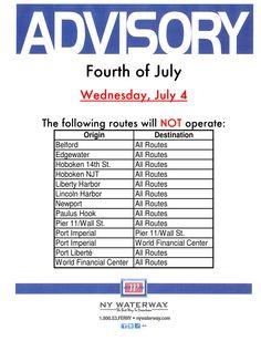 July 4th Advisory