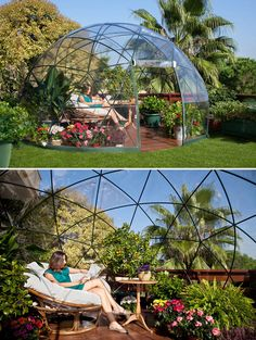 "Garden Igloo ""Four Seasons"" A multipurpose geodesic dome designed both as a winter garden and a summer canopy."