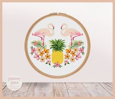 Pineapple cross stitch pattern Flamingo cross by StitcheryStitch