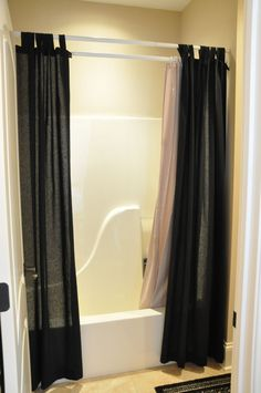 http://www.bebarang.com/unique-long-shower-curtains/ Unique Long Shower Curtains : Interior Masculine Themed In Black With Flair Of Shower Curtain Design Beautiful Extra Long Shower Curtain Off...