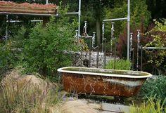 old bathtub garden pond decoration country style landscape design