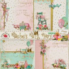 A set of stacked and decorated papers from the Bebe's Big Day scrapbook collection at Raspberry Road Designs.