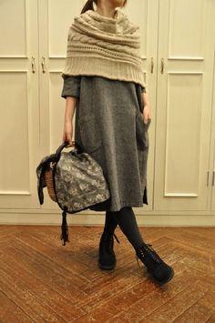 Poncho/Cape + knit dress (Norah Gaughan design?)
