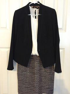 Texture skirt, cream shell, whbm jacket