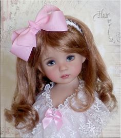 Bubblegum HAIR FRILLZ for Effner Little Darling, Bear & Doll Hair Bows