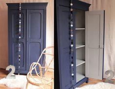 armoire parisienne penderie chambre enfant bleu nuit gris clair TRENDY LITTLE 1