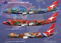 """Qantas Aboriginal colors from Airliners illustrated """"These look so much better in real life"""" KB Boeing Aircraft, Passenger Aircraft, Commercial Plane, Commercial Aircraft, Qantas Airlines, Airplane Painting, Airplane Decor, Airline Logo, Airplane Photography"""