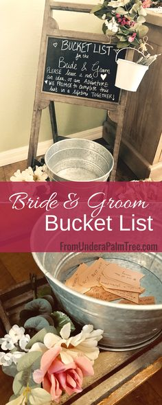 how to make a bridal shower bucket list | bride and groom bucket list | bucket list | bridal shower bucket list | bridal shower ideas | bridal shower games | garden theme bridal shower ideas |