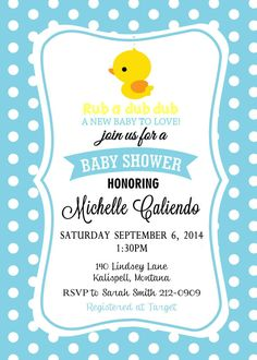 Rubber Ducky Shower Invitation by Asapinvites on Etsy