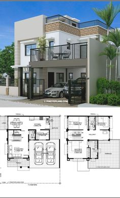 3 Storey House Design, House Roof Design, Two Story House Design, Modern Small House Design, Modern Exterior House Designs, Modern House Facades, Bungalow House Design, Modern Architecture House, Two Storey House Plans