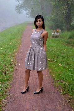 Kristina Dress in Flight Gray Canvas by Vaute Couture