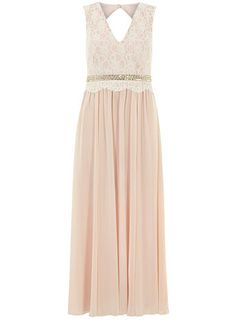 DP Collection Nude lace bead maxi dress