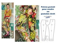 Patron gratuit pour coudre un pantalon droit  38/40/42 cliquez sur le lien bettinael Diy Pantalon, Pantalon Bleu Marine, Parachute Pants, Sewing Patterns, Kimono Top, Pajama Pants, Sari, Passion, France