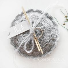 Rustic / Shabby Chic Crochet Small Ring Pillow  / by Cossara, $15.90