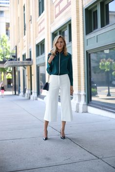 Emerald Blouse and Ivory Culottes | MEMORANDUM, formerly The Classy Cubicle