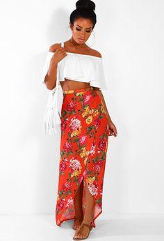 Seaside Sass Orange Multi Floral Wrap Maxi Skirt  6e49d8a53