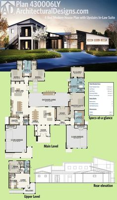 Henry approved. Architectural Designs Modern House Plan 430006LY has an upper level in-law or guest suite complete with a bedroom, living room and kitchen and stairs that go directly to it from the outside. Over 4,400 square feet of heated living space. Ready when you are. Where do YOU want to build?
