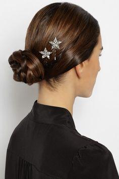 Jennifer Behr crystal hair slides / 20 Bright and Sparkly Wedding Accessories / www.flare.com/weddings/20-bright-and-sparkly-wedding-accessories/