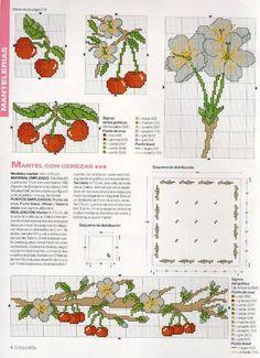 Resultado de imagen de cerezas bordadas en punto de cruz
