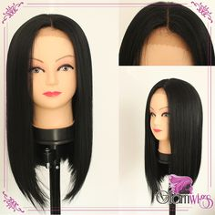 Cheap Straight Synthetic Lace Front Wig Fashion Lady's Short BOB Straight Party Wig Heat Resistant Synthtic Wigs